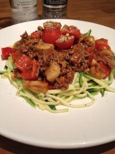 Zuchinni-pasta bolognese