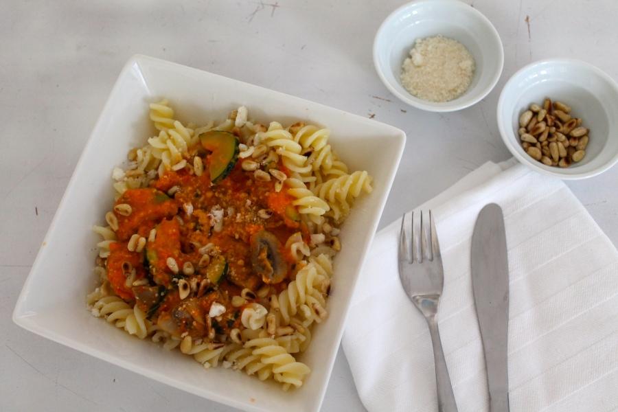 pasta met paprika saus gluten vrij