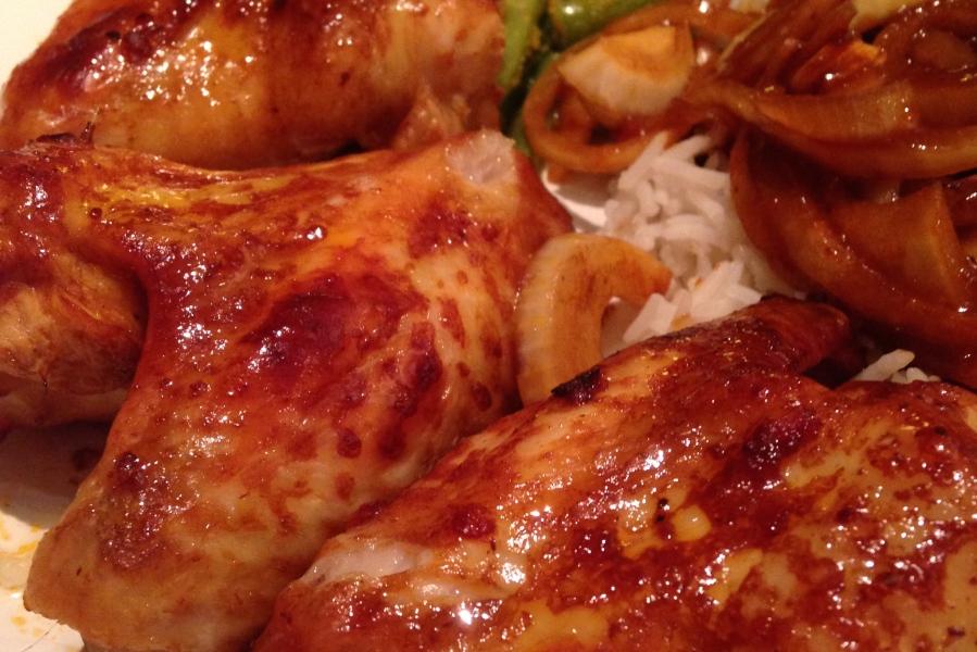 geglaceerde kip uit de oven